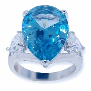 Pear Shape London Blue CZ Engagement Ring Sz 8